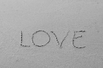 love message written in sand background
