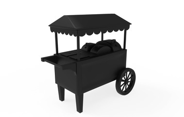 food Trolley Cart on a white background. 3d Rendering
