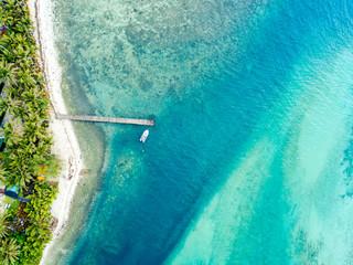 An aerial view of Muri Lagoon on Rarotonga in the Cook Islands