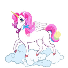 Cute white unicorn on clouds isolated on white background.
