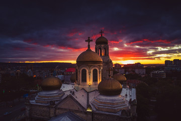 The Cathedral of the Assumption in Varna, Aerial view