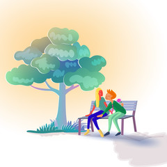 Lover sitting on bench under tree while man hiding roes flower at his back for surprising his girlfriend.