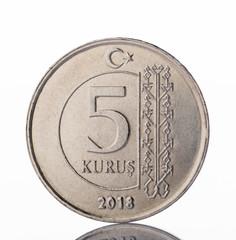 5 turkish kurus coin front side