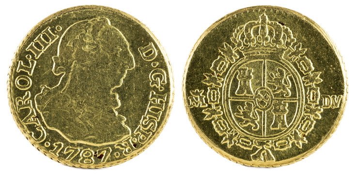 Ancient Spanish gold coin of King Carlos III. With a value of medio escudo and minted in Madrid. 1787.