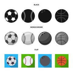 Vector illustration of sport and ball icon. Set of sport and athletic vector icon for stock.