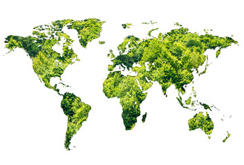 World map made of green forest on white background