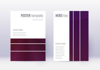 Geometric cover design template set. Violet abstra