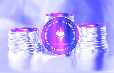 Ethereum (ETH) digital crypto currency. Stack of coins. Cyber money.
