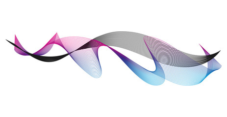 Wave of the many colored and black lines. Abstract wavy stripes on a white background isolated. Creative line art. Design elements created using the Blend Tool.