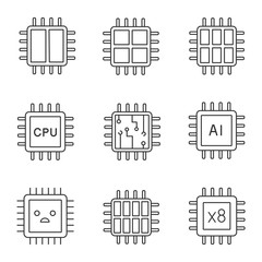 Processors linear icons set