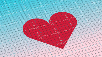 Cardiogram on gradient light blue background 3D illustration