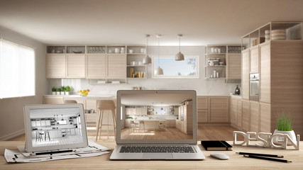 Architect designer desktop concept, laptop and tablet on wooden desk with screen showing interior design project and CAD sketch, blurred draft in the background, modern white kitchen