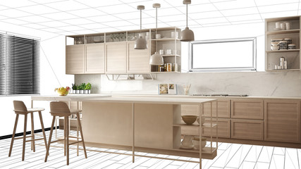 Interior design project draft, work in progress concept idea, real modern white and wooden kitchen in sketched background, architect designer project desktop screen-shot