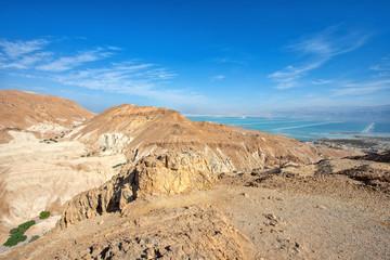 View of Judean desert landscape and Dead sea.