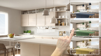 Architect designer concept, hand showing modern wooden kitchen colors in different options, interior design project draft, color picker, material sample