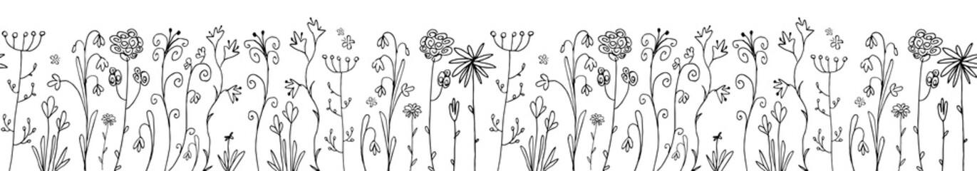 Hand drawn ink scandinavian flowers or sketchy herbal elements