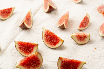 Red sliced figs close-up