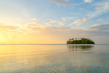 Muri Lagoon at sunrise in Rarotonga in the Cook Islands Wall mural