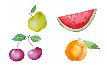 Watercolor hand drawn fruits
