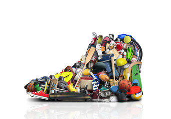 Great sneaker made up of different sneakers and sports accessories