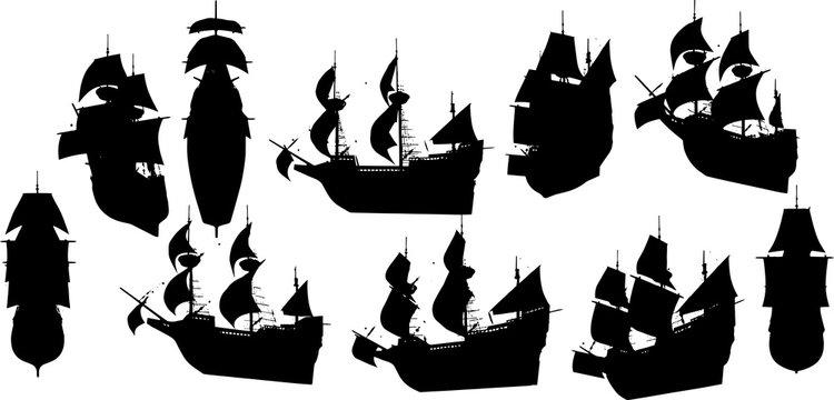帆船のシルエット
