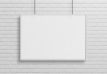 White frame hanging mockup 3d rendering