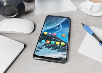 Modern smartphone laying on desktop mockup 3d rendering