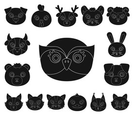 Muzzles of animals black icons in set collection for design. Wild and domestic animals vector symbol stock web illustration.