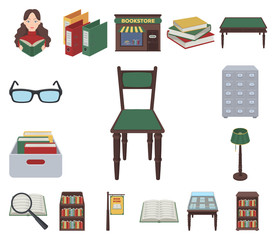 Library and bookstore cartoon icons in set collection for design. Books and furnishings vector symbol stock web illustration.