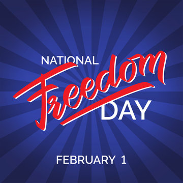 Freedom day hand-written text poster
