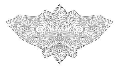 Adult coloring book page with decorative wings