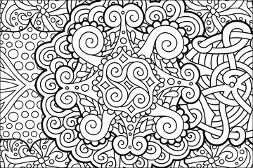 Coloring book page with beautiful abstract pattern