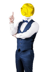Wall Mural - a man isolated on white background in a suit with a light bulb of crumpled yellow paper instead of a head with a raised finger, the concept of the idea
