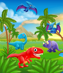 A dinosaur cartoon cute animal background prehistoric landscape scene.
