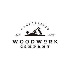Retro Vintage Woodworking Logo design with Fore Plane / Jack Plane
