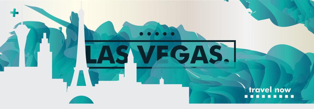 USA United States of America Las Vegas skyline city gradient vector banner