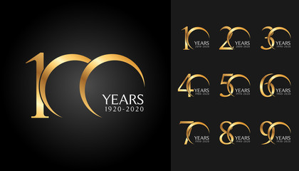 Set of anniversary badges. Golden anniversary celebration emblem design for company profile, booklet, leaflet, magazine, brochure poster, web, invitation or greeting card.