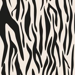 Seamless zebra skin pattern. Wallpaper with black stripes on white background. Zebra stripes hunting camouflage. Vector illustration.