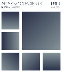 Colorful gradients in black, manatee color tones. Actual gradient background, impressive vector illustration.
