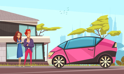 Modern Car Ground Transportation Illustration