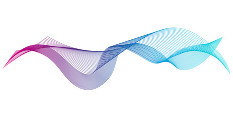 Wave of the many colored lines. Abstract wavy stripes on a white background isolated. Creative line art. Design elements created using the Blend Tool.
