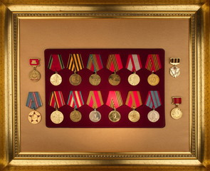 Rare medals collection of the Soviet Union.USSR, World War II.Silver and gold