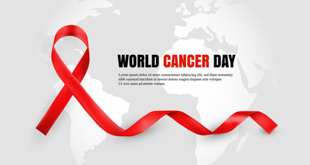 Red ribbon as world cancer day symbol with text sample