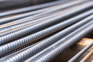 Steel rods bars used to reinforce concrete, Reinforcing steel bar, background, shallow depth of field