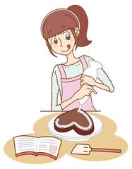 手作りチョコを作る女性のイラスト