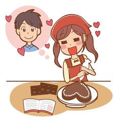 彼のためにチョコを作る女子のイラスト