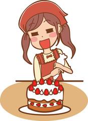 ケーキを作る女子のイラスト