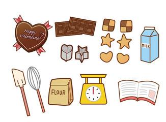 お菓子作りの調理器具のイラスト素材