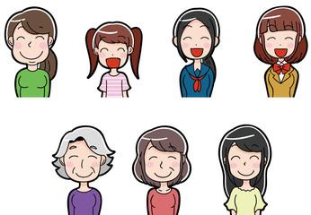 笑顔の女性 イラストアイコン