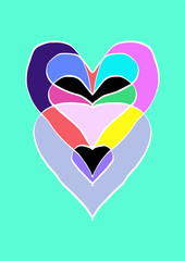 heart with colorful shapes